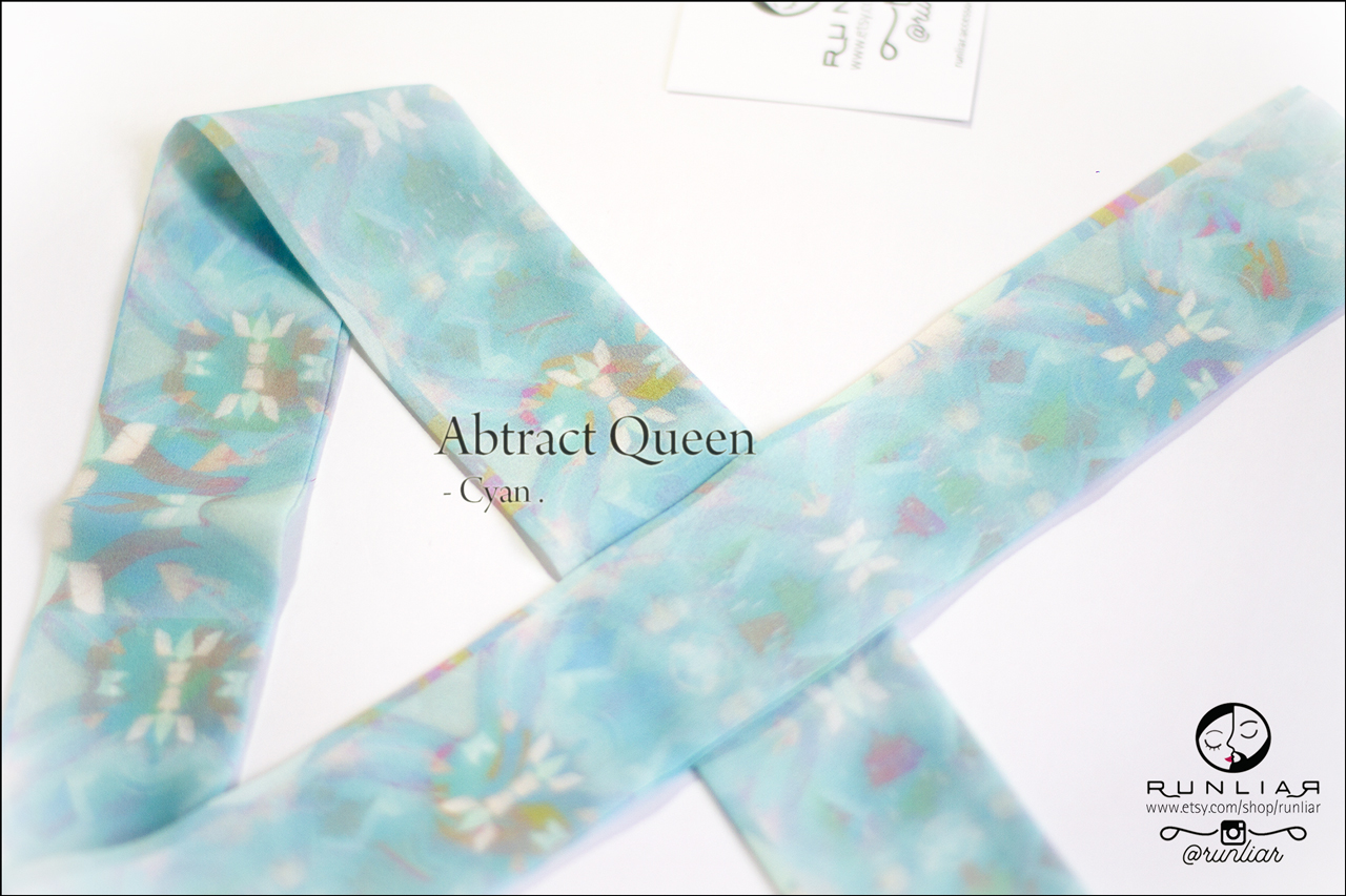 RUNLIAR Fashion Accessories _ ABSTRACT QUEEN _ Ribbon Scarf/Foulard ruban _ Cyan.