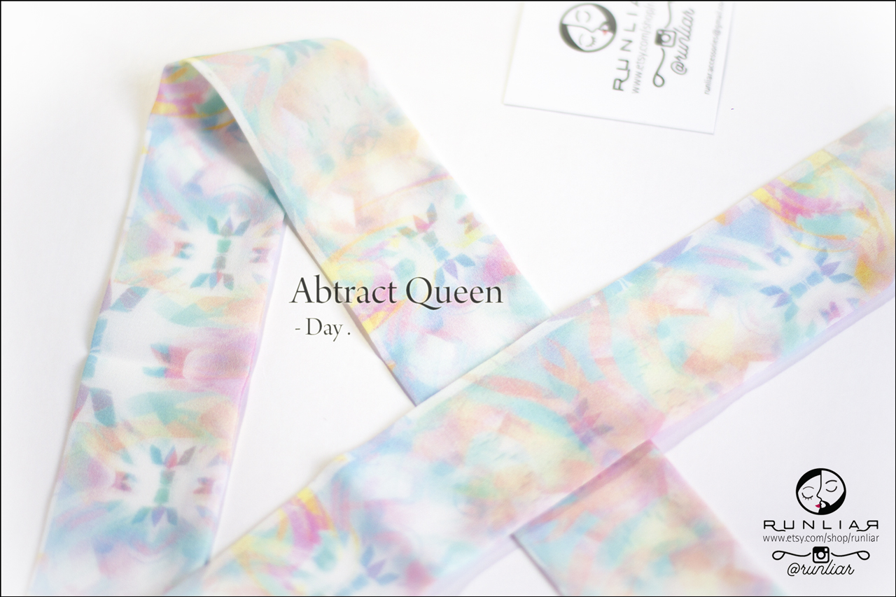 RUNLIAR Fashion Accessories _ ABSTRACT QUEEN _ Ribbon Scarf/Foulard ruban _ Day.