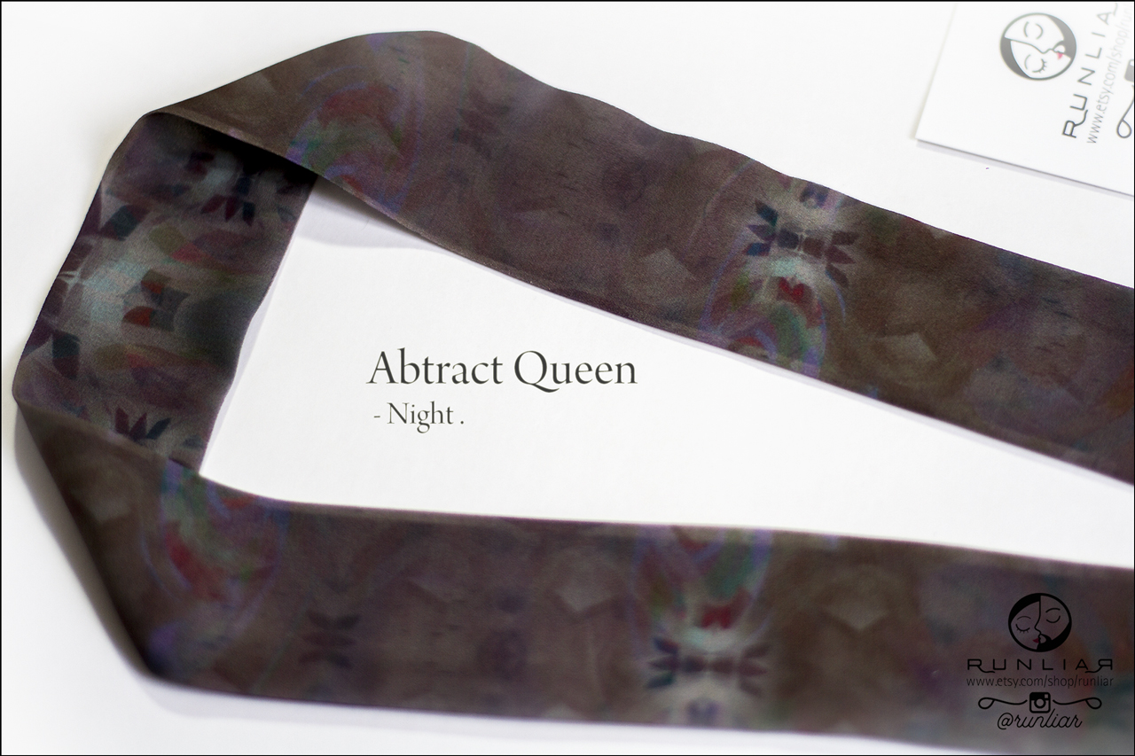 RUNLIAR Fashion Accessories _ ABSTRACT QUEEN _ Ribbon Scarf/Foulard ruban _ Night.