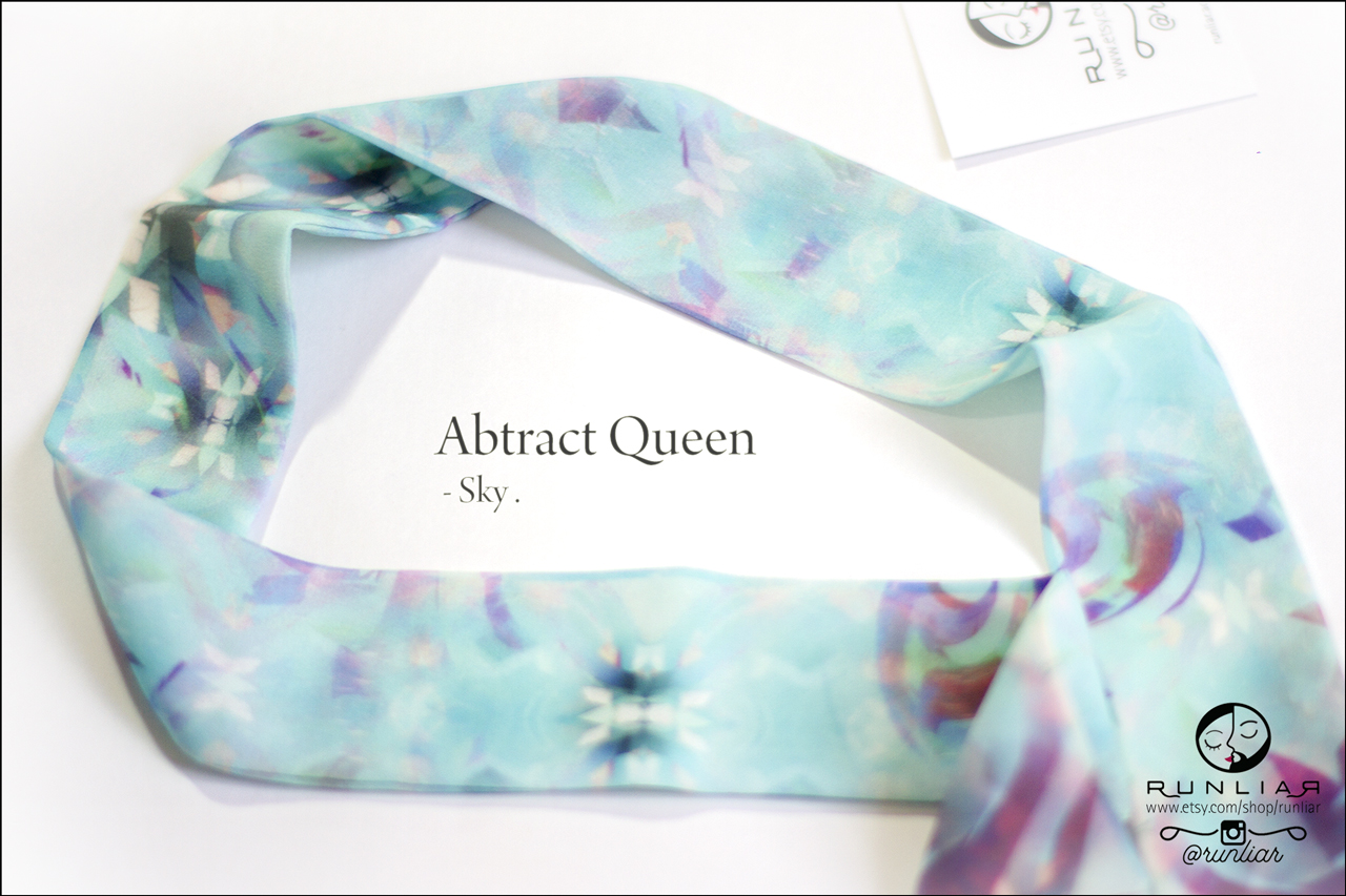 RUNLIAR Fashion Accessories _ ABSTRACT QUEEN _ Ribbon Scarf/Foulard ruban _ Sky.