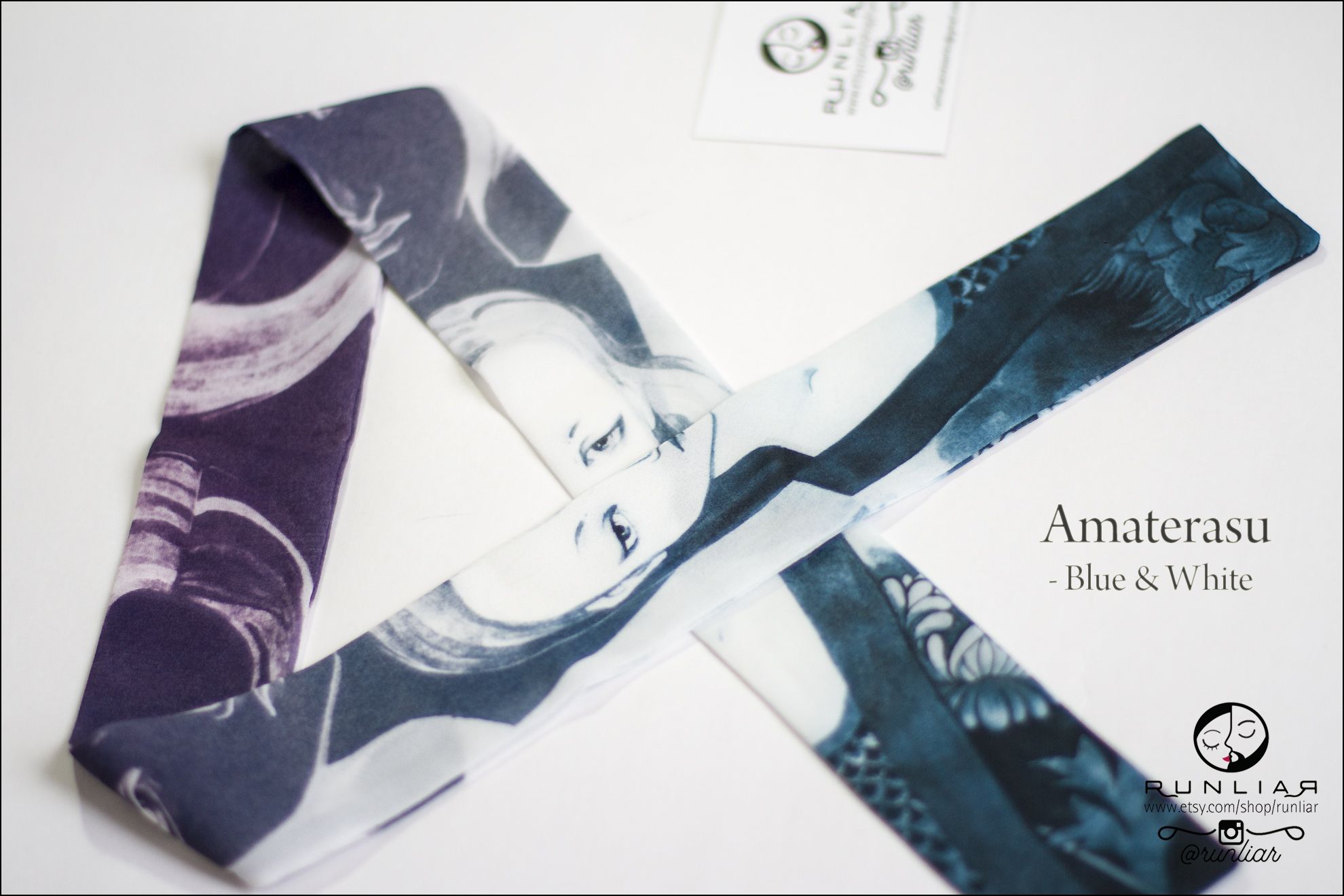 RUNLIAR Fashion Accessories : AMATERASU Ribbon Scarf - Blue & White.
