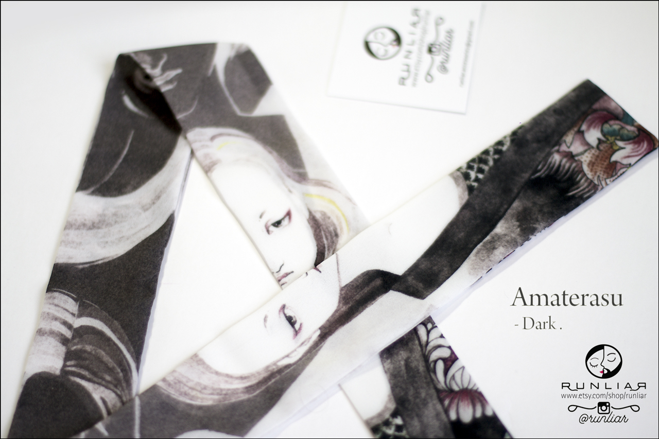 RUNLIAR Fashion Accessories : AMATERASU Ribbon Scarf - Dark.