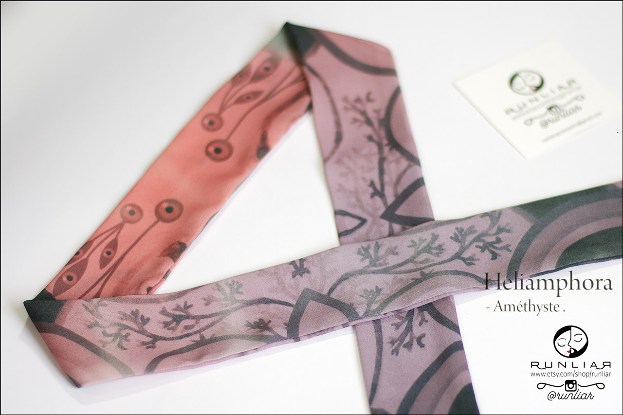 RUNLIAR Fashion Accessories _ HELIAMPHORA _ Ribbon Scarf/Foulard ruban _ Améthyste.