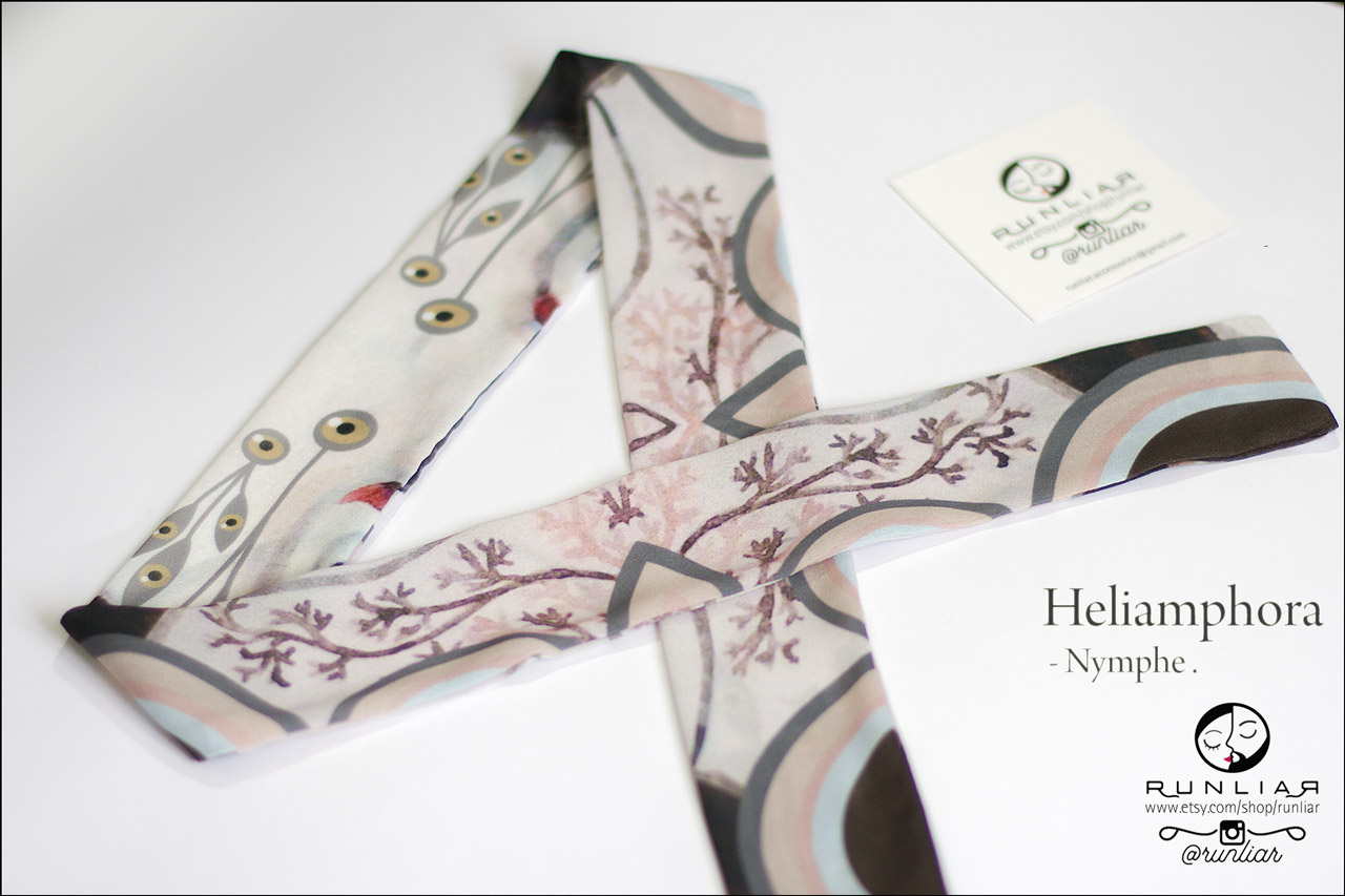 RUNLIAR Fashion Accessories _ HELIAMPHORA _ Ribbon Scarf/Foulard ruban _ Nymphe.