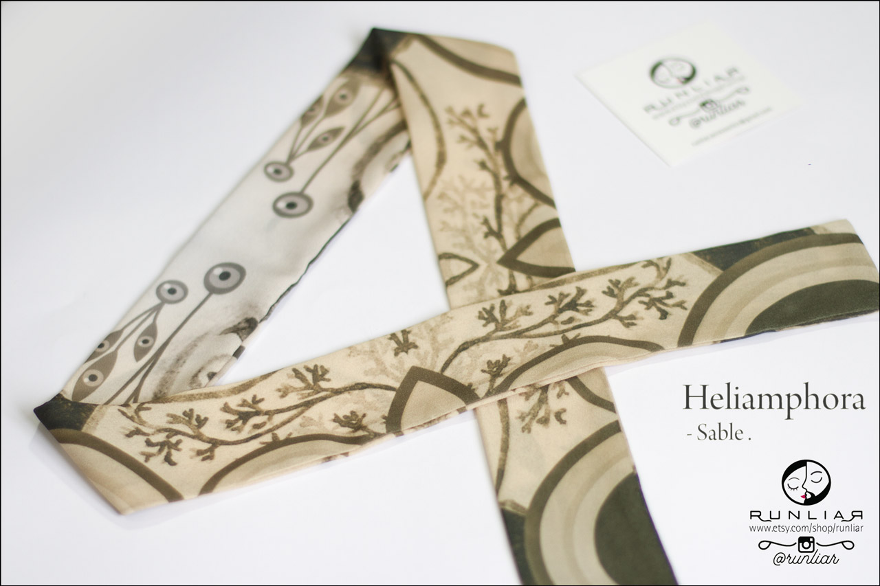 RUNLIAR Fashion Accessories _ HELIAMPHORA _ Ribbon Scarf/Foulard ruban _ Sable.