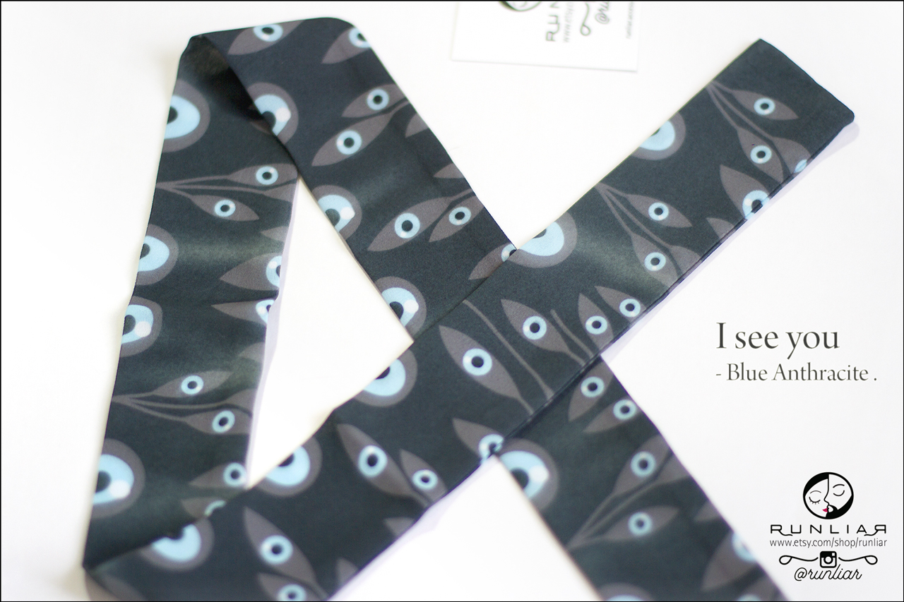 RUNLIAR Fashion Accessories _ I SEE YOU _ Ribbon Scarf/Foulard ruban _ Blue-Anthracite.