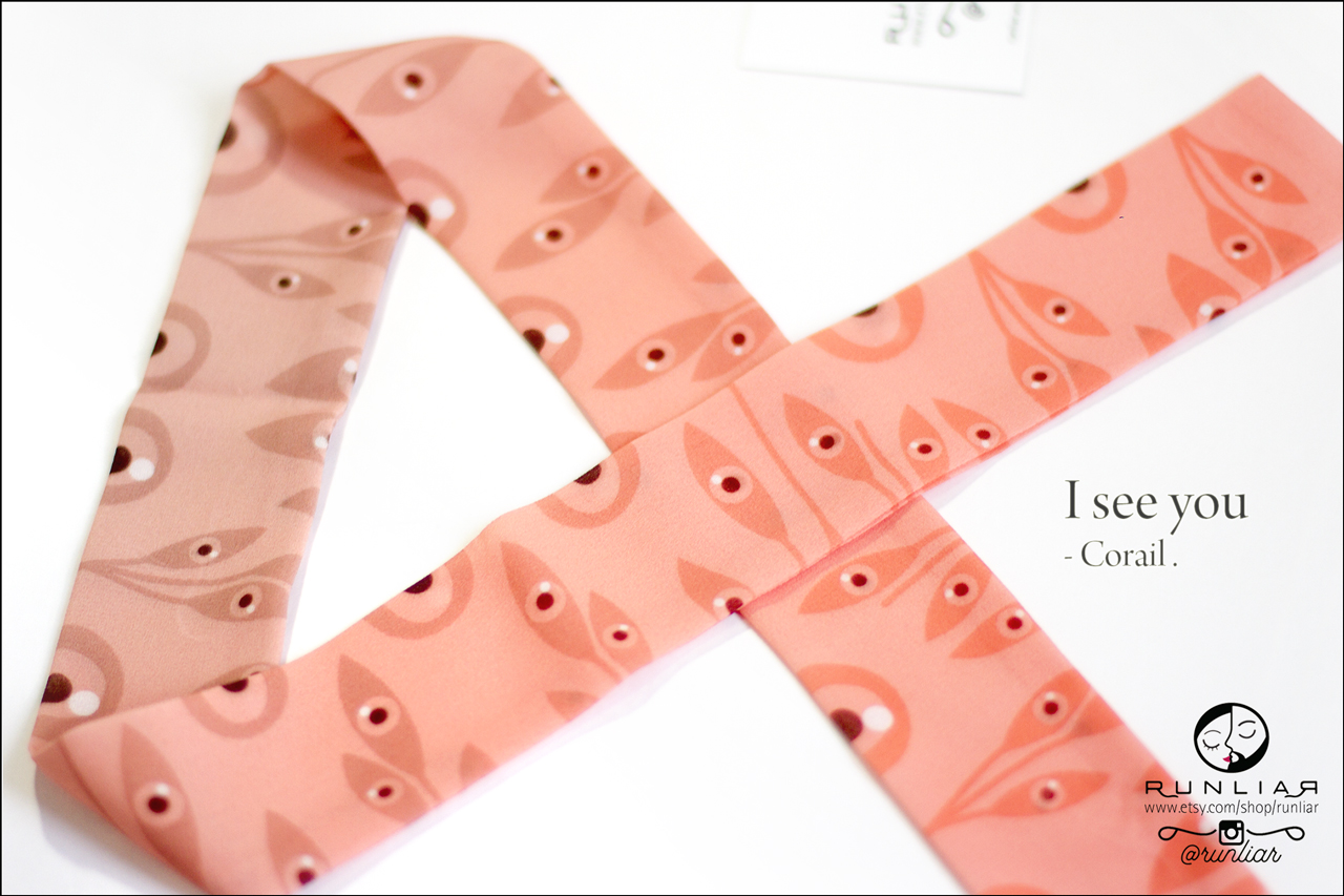 RUNLIAR Fashion Accessories _ I SEE YOU _ Ribbon Scarf/Foulard ruban _ Corail.