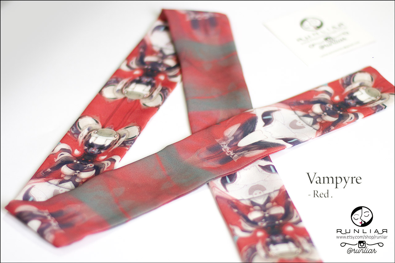 RUNLIAR Fashion Accessories _VAMPYRE _ Ribbon Scarf/Foulard ruban _ Red.