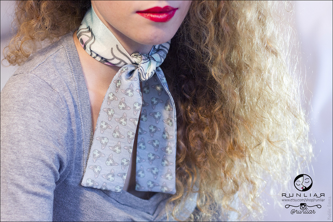 RUNLIAR Fashion Accessories _ SPHYNX CAT _ Ribbon Scarf/Foulard ruban _ Emma.