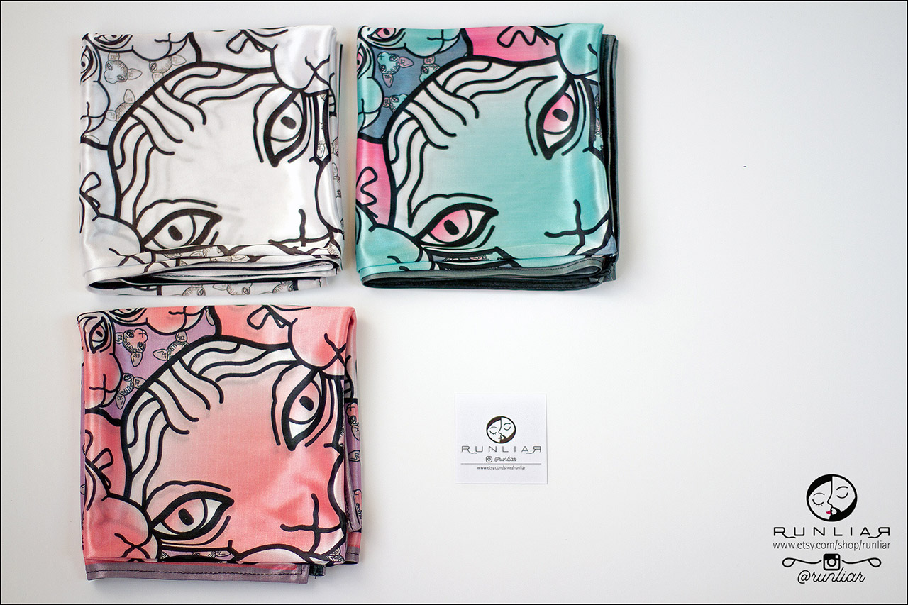 RUNLIAR Fashion Accessories _ SPHYNX CAT _ Square scarf/Foulard carré _ Three colors.
