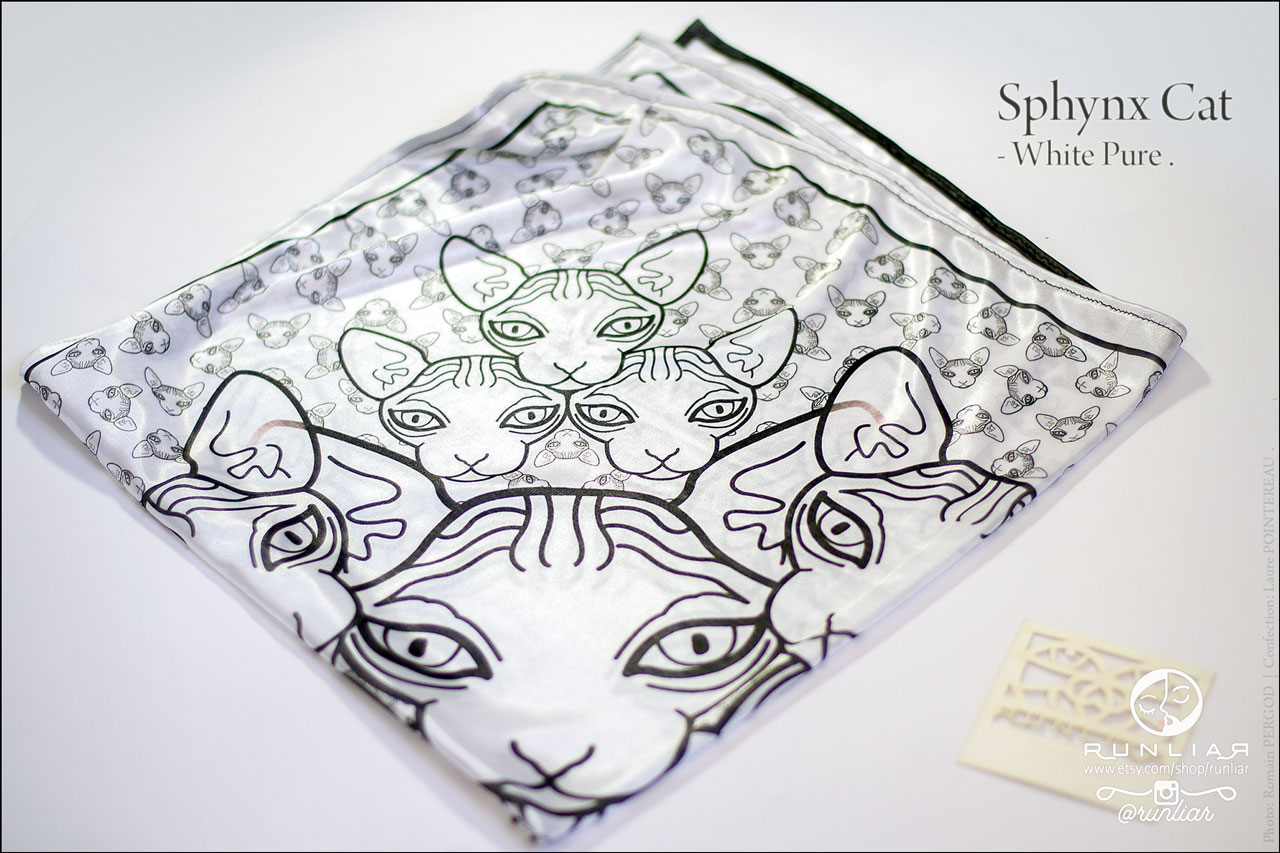 RUNLIAR Fashion Accessories _ SPHYNX CAT _ Square scarf/Foulard carré _ Single product.